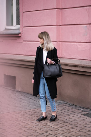black Zara shoes - black Bershka coat - sky blue pull&bear jeans