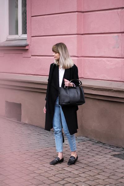 black Zara shoes - black Bershka coat - sky blue pull&bear jeans