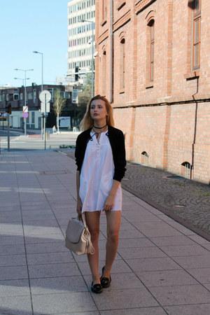 black Dorothy Perkins jacket - white Bon Prix dress - beige Zara bag
