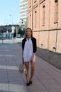 White-bon-prix-dress-black-dorothy-perkins-jacket-beige-zara-bag
