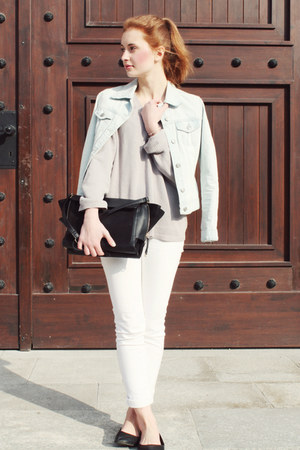 light blue Bershka jacket - silver second hand sweater - black Zara bag