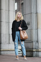 black taly weijl coat - off white reserved shoes - light blue Bershka jeans