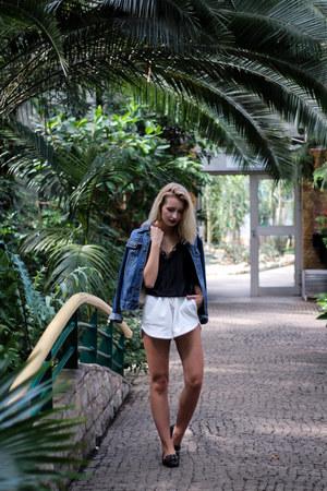 black Zara shoes - navy John Baner jacket - white H&M shorts