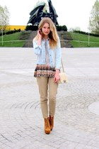 second hand t-shirt - Bershka jacket - Glitter bag - Świat Butów wedges