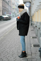 black Tally Weijl coat - light blue pull&bear jeans - heather gray H&M scarf
