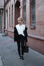 Black-h-m-coat-black-bershka-jeans-white-second-hand-sweater