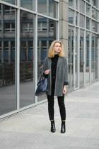 black labotti heels - charcoal gray second hand coat - navy etorebka bag
