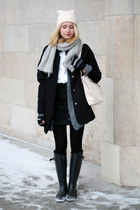 ivory H&M hat - black Tally Weijl coat - ivory Michael Kors bag