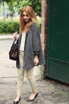charcoal gray second hand coat - black Parfois shoes - black Parfois bag