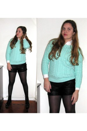 H&M sweater - Stradivarius boots - Zara shorts