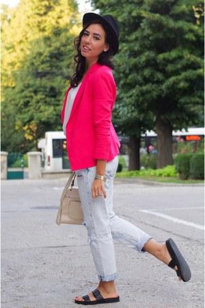 black Zara jeans - Zara blazer - hot pink H&M flats
