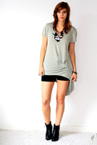 light blue Monki shirt - black leather Sacha boots - black Zara shorts