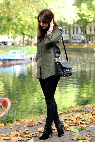 black PROENZA SCHOULER bag - black Miu Miu heels - army green Zara blouse