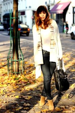 camel suede Zara boots - black Alexander Wang bag - cream new look top