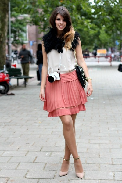 light pink Zara heels - peach Max &amp; Co dress - black Massimo Dutti scarf