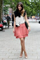 light pink Zara heels - peach Max & Co dress - black Massimo Dutti scarf