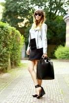 silver metallic Zara jacket - white print OASAP shirt - black Mango heels