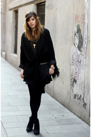 black feather Zara bag - black Zara coat - black sequined Zara top