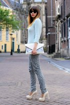 cream Bershka bag - silver H&M jeans - light blue knit Zara sweater