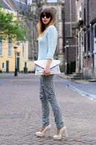 cream Bershka bag - silver H&M jeans - light blue knit Zara sweater