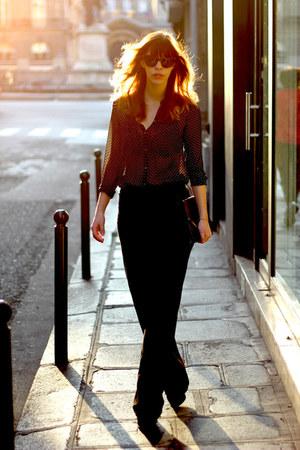 black chiffon Zara blouse - black patent new look bag - black Celine sunglasses