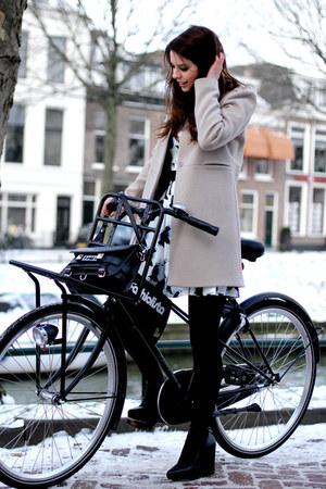 light pink Zara coat - white H&M dress - black PROENZA SCHOULER bag