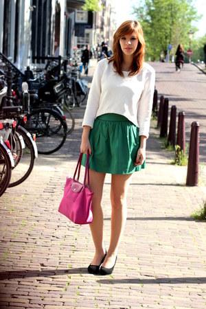 longchamp bag - H&M top - Zara skirt - River Island pumps