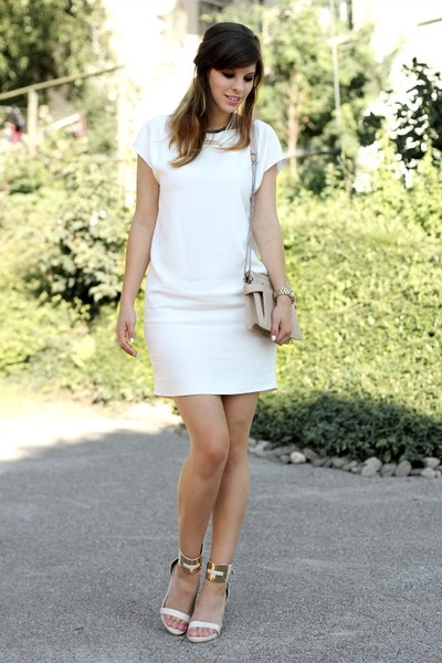 white Massimo Dutti dress - white River Island heels