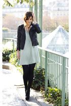 leather Zara jacket - silk StyleIN dress - feathers DonaArg accessories