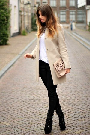 Zara coat - Jeffrey Campbell boots - Topshop bag - Zara pants