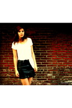 white H&M shirt - silver asos necklace - black fake leather H&M skirt - silver a