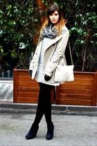 white striped Stradivarius dress - navy asoscom boots - beige Stradivarius coat
