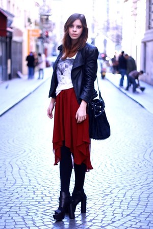 chiffon Bershka skirt - leather Zara jacket - H&M shirt - Alexander Wang bag