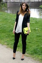 yellow Mango bag - black Zara blazer - white chiffon H&M Trend top