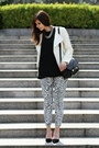 black leopard Zara pants - ivory leather Zara jacket