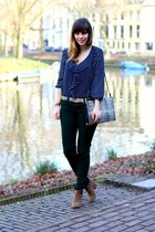 navy polka dots Zara blouse - camel suede Zara boots - cream pony skin Zara bag
