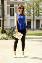 blue Zara top - silver H&M bag - white Alexander Wang heels