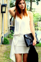 ivory acne dress - black vintage bag
