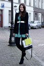 Green-guess-dress-black-zara-blazer-light-yellow-diane-von-furstenberg-bag