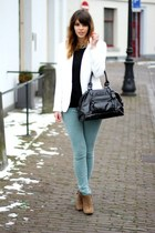 aquamarine Zara jeans - white Zara blazer - black longchamp bag