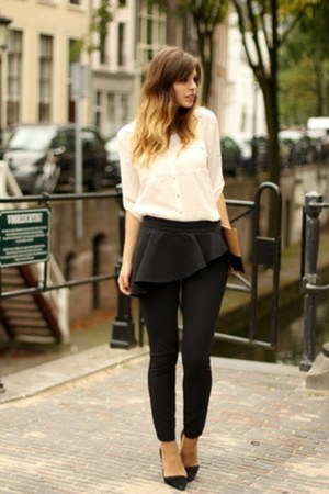 black Zara pants - camel Celine bag - ivory H&M blouse