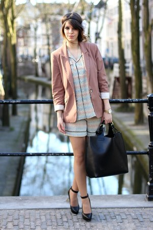 pink River Island blazer - cream Marni x H&M shorts - cream Marni x H&M blouse