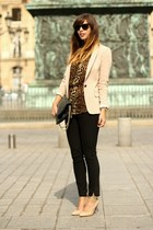 black studded Zara bag - light pink Massimo Dutti blazer