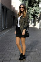 black Michael Kors bag - army green Zara jacket - white Zara shirt