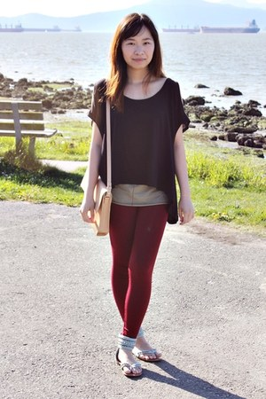 brick red Forever 21 leggings - nude Zara bag - black Forever 21 top