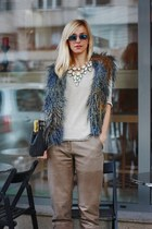 navy Hippie Shake vest - gray papucei purse - tan H&M pants - beige PNK blouse