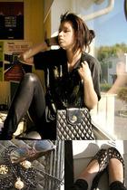 purse - Friis & Co necklace - Friis & Co shoes - glasses - t-shirt - leggings