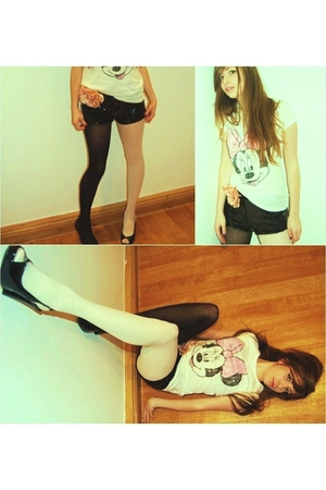 black Fornarino shoes - black American Apparel tights - white H&M t-shirt - pink