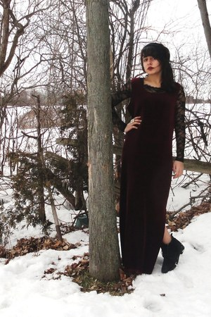 black thrifted boots - crimson velvet thrifted dress - black lace Forever 21 shi