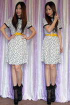 H&M dress - yellow belt Miu Miu belt - black pumps Tabio heels